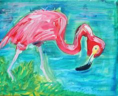 Pink Flamingo Original Painting on Canvas 8 by ErikaJohnsonGallery, $40.00