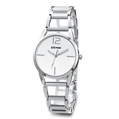 ETEVON Women's Quartz Analog Waterproof Stainless Steel Elements Silver Hollow Bracelet Wrist Watch Classic Simple Gift for Ladies - Feature and Benefit: 1. Imported Japanese Quartz Movement: Provide Precise Aand Accurate Time Keeping 2. Key Scratch Resistant Watch Face 3. Fold-over Clasp 4. Stainless Steel Band, Case And Case Cover 5. Simple, Casual and Fashion Dress Watch Design 6. Water Resistant For Daily Use: Perfect for ...