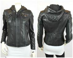 Michael Michael Kors Black Leather Hooded Motorcycle Jacket Size Small NEW $525 #MichaelMichaelKors #MotorcycleJacket #Leather