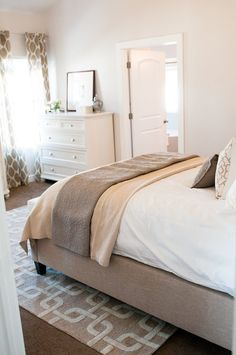 www.carolinawholesalefloors.com has more flooring options OR check out our Facebook - https://www.facebook.com/pages/Carolina-Wholesale-Floors/203627269686467?ref=hl Tan & White neutral bedroom - also nice for bringing more light into a space