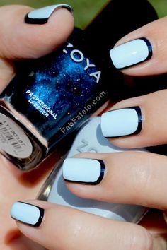 Sky blue mani with a black outline.