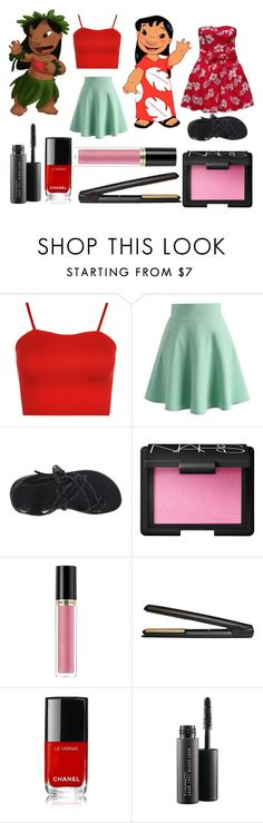 """""""Lilo"""" by the-annoying-fangirl ❤ liked on Polyvore featuring Disney, WearAll, Chicwish, Chaco, NARS Cosmetics, Revlon, GHD and MAC Cosmetics"""