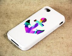 White Abstract Anchor iPhone 4 iPhone 4S Case, Rubber Material Case and Hard Plastic Case