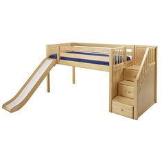 Buy your Carter Low Loft Bed here. The Carter Low Loft Bed is a fun and functional loft for your child! Cheap Bunk Beds, Safe Bunk Beds, Full Bunk Beds, Bunk Beds With Stairs, Kids Bunk Beds, Low Loft Beds For Kids, Loft Spaces, Small Spaces, Stair Paneling