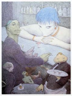 Walter Schnackenberg - An der bar - 1956 Art And Illustration, Vintage Artwork, Vintage Posters, Bar, Alien Concept, Dream Book, Surreal Art, Macabre, Book Art