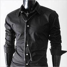 (CKN-BLACK) Mens premium luxury slim dress shirts with TIE BLACK