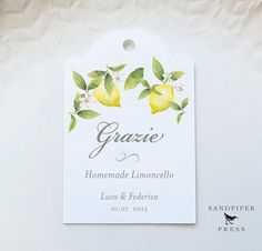 Grazi Limoncello Tags Personalized Gift Tags by SandpiperPress