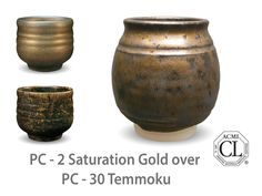 Amaco Glaze Combinations | Photo of cup glazed with PC-2 Saturation Gold over PC-30 Temmoku