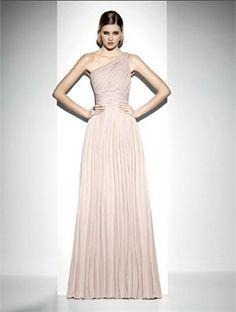 One shoulder a line sash pink chiffon 2012 Prom Dresses SPD0055