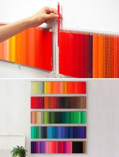 500 COLORED PENCILS ON THE WALL