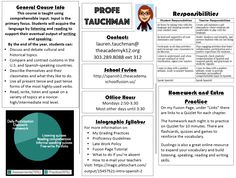 """I stole another idea from my friend and master teacher, Emily Hart. Instead of a syllabus, she is giving students and parents a """"Course Guide."""" It is a brochure that answers the most co… Foreign Language Teaching, Teaching Spanish, Spanish Teacher, Teaching Time, Teaching Resources, Teaching Ideas, Beginning Of School, First Day Of School, Syllabus Examples"""