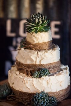 3 tier wedding cake with burlap and succulents