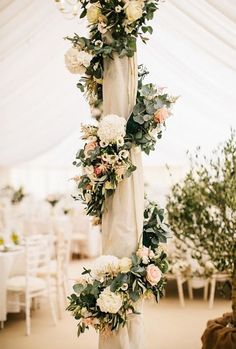 Marquee Poles With Floral Decor Boho Floral Wedding Decor & Bohemian Wedding Decorations – With beautiful peach soft blush pinks floral & elegant floral wreath! Perfect for Fall, Floral & Romantic Weddings! Source by designpaperieshop Romantic Wedding Receptions, Bohemian Wedding Decorations, Romantic Weddings, Unique Weddings, Wedding Centerpieces, Elegant Wedding, Wedding Bouquets, Rustic Wedding, Floral Decorations