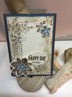 handmade card using Timeless Textures collage stuyule ... luv blues and browns together ...  Stampin Up