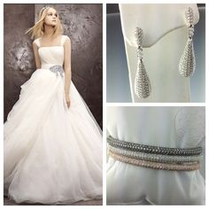 #modernbride! Dress found online at #davidsbridal and earrings and bangles are pave CZ found instore at Krombholz Jewelers!