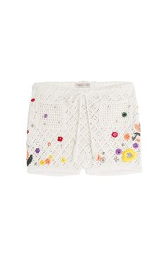 """Sorry ladies, but only the pockets on these Pucci """"crochet"""" shorts are actually crocheted -- the main stitching may be lacy, but it's knitted, and those flowers aren't motifs, they're embroidered. But you know what, if you're going to pay $880 for these anyway, you probably don't care about these details."""