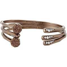 Kendra Scott Blake Stacking Bracelets ($130) ❤ liked on Polyvore featuring jewelry, bracelets, chocolate, rose jewelry, drusy jewelry, stackers jewelry, rose jewellery and kendra scott