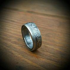 Vintage 1942 Silver Half Rupee Ring  Hand by ReedsCustomRings