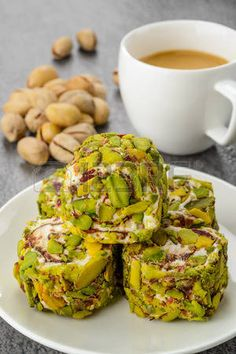 Turkish pistachio dessert with a some of pistachios and coffee photo Arabic Dessert, Arabic Sweets, Arabic Food, Lebanese Recipes, Turkish Recipes, Persian Recipes, Sweets Recipes, Cooking Recipes, Turkish Sweets