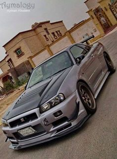 "Nissan Skyline GTR I'd take this and ""DeathRace"" it. Metal visors over the windows, mount up some throw on some old school chariot blades on the wheels, and put on a flame thrower for good measure. Nice machine for mowing down walkers. Gtr Nissan, Autos Nissan, Renault Nissan, Skyline Gtr R34, Nissan Skyline Gt, Tuner Cars, Jdm Cars, Porsche, Japan Cars"