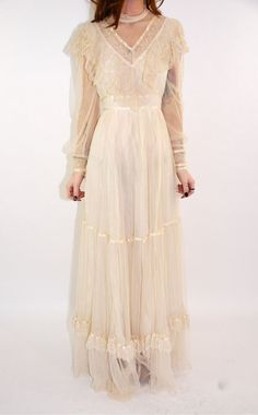 Vintage Gunne Sax Dress Gauzy Net lace Romantic Victorian Lace Wedding Gown- looks almost like the gown I wore when I married Frank! :)
