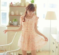 Floral Sheer Dress (Orange) from Dolly Dynamite