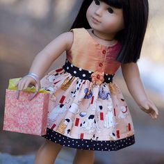 american doll girl outfit idea - really like the button placket on the bodice
