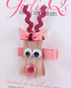Pink Girl Reindeer Christmas Hair Clip - Rudolph the Red Nosed Reindeer