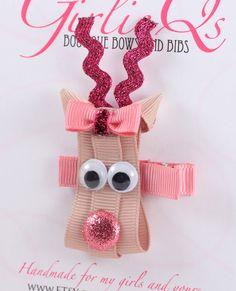 Pink Girl Reindeer Christmas Hair Clip - Rudolph the Red Nosed Reindeer