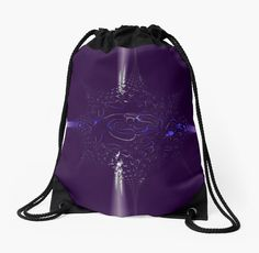 Collision on Indigo Drawstring Bag by Terrella.  Horizontal & vertical lines of colorful light collide and explode forming a star made of fragments.  This is the indigo version.  Other color choices are also available. • Also buy this artwork on bags, apparel, phone cases, and more.