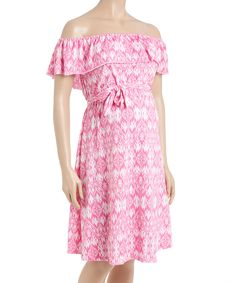 Take a look at this Pink Geometric Ruffle Maternity Off-Shoulder Dress today!