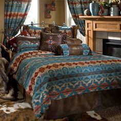 Revamp your bedroom with the look and feel of an authentic Southwestern lodge with Carstens Turquoise Chamarro Bedding Set. Woven turquoise chamarro comforter with suede backing acts as the cen Southwestern Bedding, Bed In A Bag, Bedding Collections, Comforter Sets, King Comforter, Queen Bedding, Bed Spreads, Cheap Home Decor, Luxury Bedding