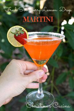 Fresh strawberries add a lovely touch to a traditional Lemon Drop Martini! Yum!