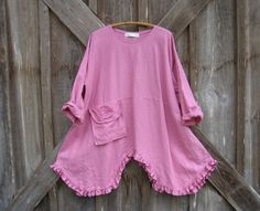 washed linen tunic in French rose ready to ship by linenclothing