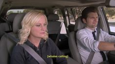 Awkward road trip tunes. (Parks and Recreation)