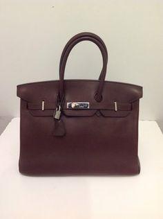 Hermes Birkin Leather Satchel in Dark Brown