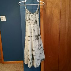 Blue cotton halter cotton sundress Light pale blue dress with design in the pattern and a small design on the front at the waist. Dresses