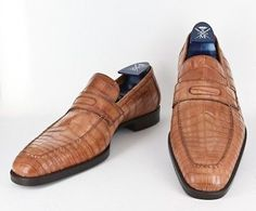 New $6000 Sutor Mantellassi Caramel Brown Crocodile Shoes - Loafer - 10/9