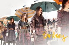 Burberry at London Fashion Week. Loving the adorable bows, newsboy caps, and studded gloves — a mix of girly, tomboy, and tough.