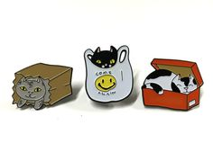 These pins are inspired by the odd things my own cats do on a regular basis. Each pin is 1.25 inches and comes with two posts and rubber clutches. PLEASE NOTE: Pins are not sold separately. Shipping is the same as one pin....THE SAVINGS!!