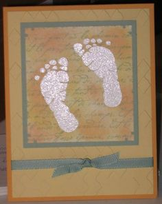 non-traditional baby card, stampin up, french script, i'm here, hmlopez
