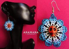 Huichol Skull Earrings 026 Mexican Jewelry Mexican earrings