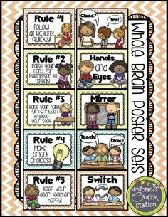 *FREEBIE FRIDAY* Whole Brain Teaching (Mrs. Jones' Creation Station) Today I am offering these Whole Brain Teaching Posters from my Chevron Classroom Package that will. Teaching Rules, Teaching Posters, Teaching Strategies, Teaching Kindergarten, Teaching Tools, Teaching Time, Teaching Resources, Teaching Ideas, First Grade Classroom