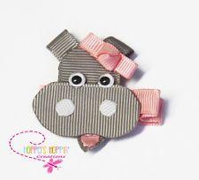 Hippopotamus  Hippo  Gray Ribbon Sculpture Hair Clip Bow