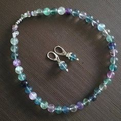 Necklace beaded Fluorite Green Blue Color of the sea Mermaid Russian necklace Free shipping