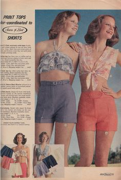 Hot Pants again! Last time we looked at Hot Pants, we entered some kind of weird time travel loop where the past wrote the future . Flower Power, Colleen Corby, 70s Fashion, Fashion Trends, Lee Jeans, Cool Hats, Hot Pants, Vintage Love, Pants Outfit