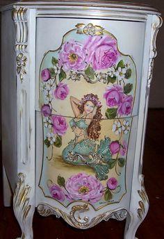 Elegant French Nightstand Table Mermaid