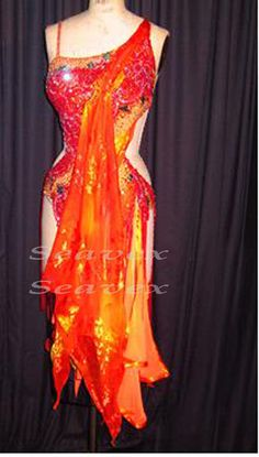 Ballroom Cha Cha Latin Ramba Competition Dance Dress US 8 UK 10 Red Orange Color