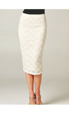 Cream Lace Pencil Skirt