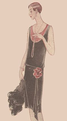 """This is a complete printable pattern of an evening dress from the 1920s. The pattern was published in December 1927 in a German fashion magazine called """"Praktische Damen- und Kinder-Mode"""". The dress has a straight silhouette with emphasis on the very low waist line. The pattern is made to fit a person with the following measurements: bust 102 cm or 40 ins, waist 80 cm or 31.5 ins and hip 112 cm or 44 ins, but due to the simple, straight cut the model is very easy to enlarge or make smaller…"""